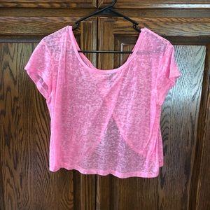 Nollie Sheer burnout pink crop top